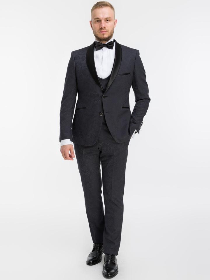 Смокинг с жилетом Жаккард TOP1 (DRESS CODE BLACK TIE)