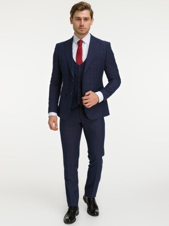 Темно-синий костюм-тройка Freeman